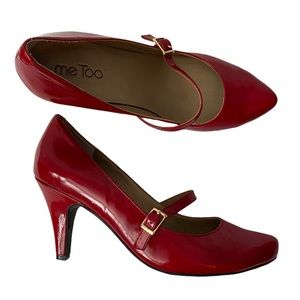 Red patent pumps with strap - 7